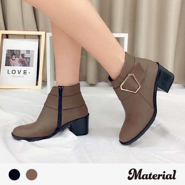 短靴 方頭側金屬扣短靴 MA女鞋 T9396