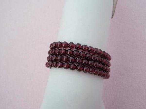 【歡喜心珠寶】【天然紅石榴石圓珠5mm手鍊】重21g.深紅色亦稱血石「附保証書」手鍊、項鍊