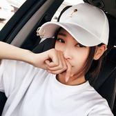 棒球帽 2018新款鐵環帽子夏女潮百搭韓版休閒出游彎檐棒球帽純白色鴨舌帽