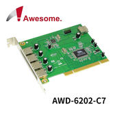 Awesome 7 Port USB 2.0 PCI 擴充卡 AWD-6202-C7