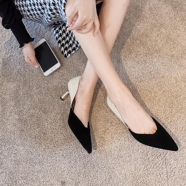 手工真皮女鞋33~40 2020新款歐美絨面皮拼色尖頭高跟鞋 OL工作鞋~3色
