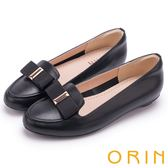 ORIN 氣質甜美風 織帶蝴蝶結牛皮百搭平底鞋-黑色