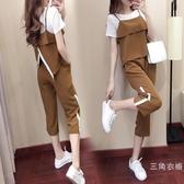 套裝運動服套裝女新品2019夏季韓版時尚短袖寬松休閒顯瘦闊腿褲三件套
