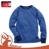 【Wildland 荒野 童 遠紅外線彈性條紋衣《中藍》】0A12683/休閒衫/條紋/彈性/保暖衣