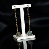 【喨喨飾品】拉長石又稱光譜石 幸運耳環 S341