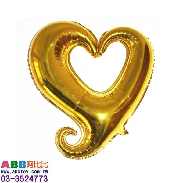 A0804-1☆中勾心氣球_金_61cm#生日#派對#字母#數字#英文#婚禮#氣球#廣告氣球#拱門#動物