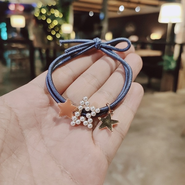 【NiNi Me】韓系髮飾 氣質甜美珍珠星星打結髮束 髮束 H9511