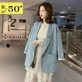 加大尺碼--韓版復古率性翻領造型大口袋中長版西裝外套(黑.藍M-4L)-J331眼圈熊中大尺碼◎