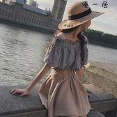 一字肩兩件套洋裝韓版復古短袖套裝裙