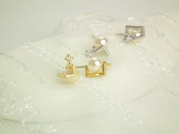 耳環 優雅珍珠鋯石 耳針 i917ღ