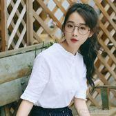 小清新短袖上衣百搭白色中袖襯衫女韓版學生木耳領打底衫襯衣棉麻 探索先鋒