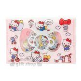 〔小禮堂〕Hello Kitty 造型燙金透明貼紙收納夾組《紅白》裝飾貼.黏貼用品.包裝禮物 4901610-00131