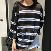 T恤-百搭圓領微透線條拼接中長版薄款休閒長袖T恤Kiwi Shop奇異果0816【SZZ9548】