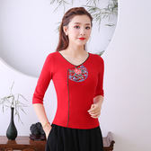 中國風刺繡上衣 民族風服裝復古繡花打底衫百搭棉上衣修身顯瘦T恤