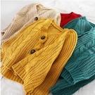 K690學院風小清新寬鬆顯瘦V領單排扣經典麻花針織外套女 格蘭小舖