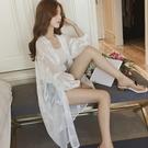 長款防曬衣 很仙的防曬衣女仙女夏季新款網紅寬鬆中長款超薄雪紡開衫外套-Ballet朵朵