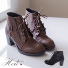[Here Shoes]2色 側開拉鍊皮革機車靴 6.5CM增高工程靴 拉鍊粗中跟短靴 馬丁靴 ◆MIT台灣製─KCT2192