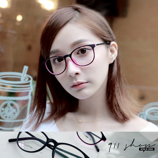 Maroon.TR90塑膠鈦超輕扁形橢圓框光學配鏡框眼鏡【p6002】*911 SHOP*