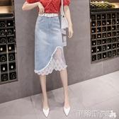 夏季2020新款牛仔半身裙網紗蕾絲拼接優雅修身顯瘦破洞中長裙子女 伊蒂斯