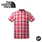 【The North Face 美國 男 抗UV排汗短襯衫《紅色格紋》】3GIK/抗紫外線/透氣/短袖/襯衫