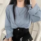 竹節棉長袖 秋季2021新款韓版ins竹節棉純色圓領T恤女寬鬆長袖套頭打底衫上衣 薇薇