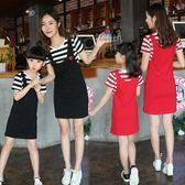 2018新款夏裝母女裝  韓版親子裝女童裝假兩件條紋短袖洋裝潮 魔方數碼館