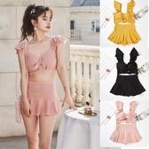 2020新款泳衣女分體兩件套裙式平角日系小清新美背性感網紅泳裝女