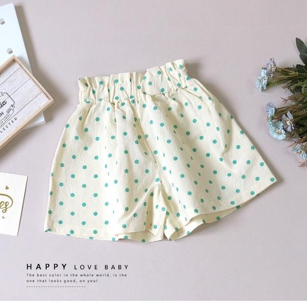 純棉 清新綠點點高腰短褲 春夏童裝 女童短褲 女童褲裙 女童寬褲 女童褲子
