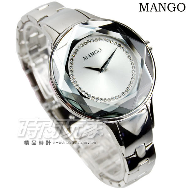 MANGO 星光戀曲不鏽鋼時尚腕錶 16道切邊工設計鏡面 女錶 銀 MA6297L-SR