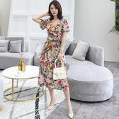 中大尺碼洋裝 棉麻印花清新碎花V領短袖性感氣質舒適連衣裙  L-5XL #wm510 ❤卡樂❤