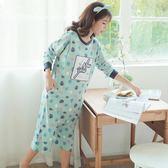 孕婦睡裙夏季純棉產后月子服產婦喂奶衣外出時尚長袖春秋哺乳睡裙 baby嚴選