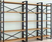 現代書架簡易重型架客廳書柜鋼木組合儲物貨