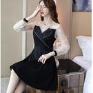 宴會謝師宴飄逸羽毛瘦臉大V腰身短款洋裝[98973-QF]美之札-假兩件式 洋裝