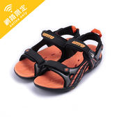 LOTTO 磁扣運動涼鞋 黑橘 LT6AKS3203 大童