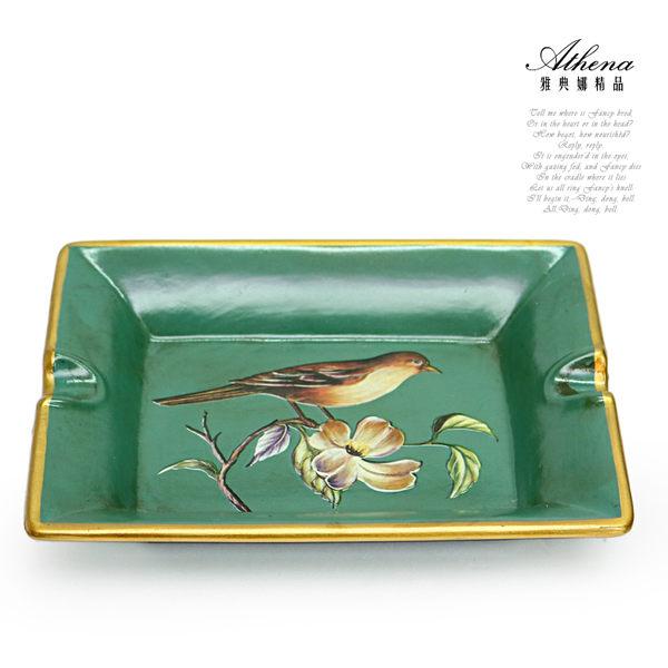 【雅典娜家飾】復古喜鵲綠底金邊陶瓷煙灰缸-EC30