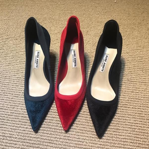 高跟鞋 歐洲站2020春季新款真絲絨尖頭高跟鞋紅色細跟拼色單鞋宴會女婚鞋【星時代女王】