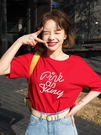 T恤 韓都衣舍韓版女裝夏裝新款寬鬆學生打底印花短袖T恤DU9307櫻 限時特惠