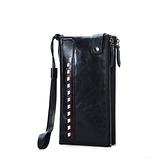 手拿包-真皮-大容量雙拉鍊油蠟牛皮男錢包2色73ys18【時尚巴黎】