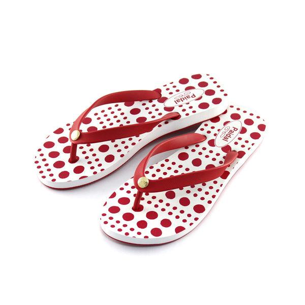 Paidal 水玉圓點夾腳涼拖鞋-紅