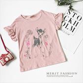 純棉 塗鴉小鹿印花甜美荷葉袖上衣 粉色 童話 插畫 甜美 女童 韓版 百搭 休閒 哎北比童裝