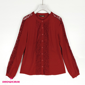 【SHOWCASE】圓領肩袖蕾絲透膚長袖上衣(紅)