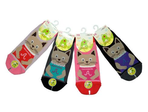 FR-0010 微笑小貓咪止滑直版童襪-6雙 台灣製 19~21CM