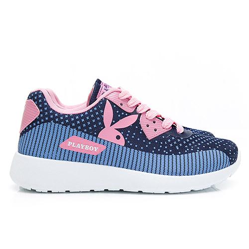 PLAYBOY活力甜心撞色拼接休閒鞋-藍粉-Y6227F9
