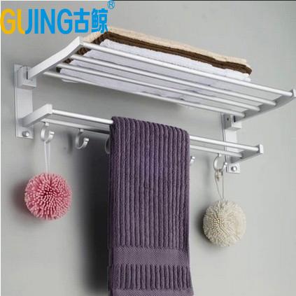 浴室置物架 衛浴室太空鋁浴巾架 帶鉤掛墻掛件套裝 雙層置物架折疊毛巾架整套56*25*15公分