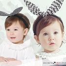 韓版黑白條紋兔耳朵兒童髮帶 髮箍