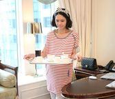 BS貝殼【111004】韓版時尚紅白條紋上衣 條紋風 蝙蝠袖 孕婦T恤 孕婦裝 孕婦上衣 大碼
