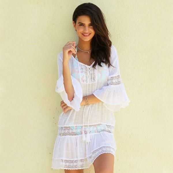 【南紡購物中心】《D Fina 時尚女裝》 竹節棉 微透感海邊度假風罩衫小洋裝 (3色)