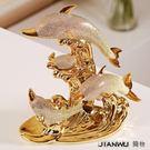 裝飾擺件 家居結婚創意裝飾品海豚灣鍍金陶瓷情侶擺件