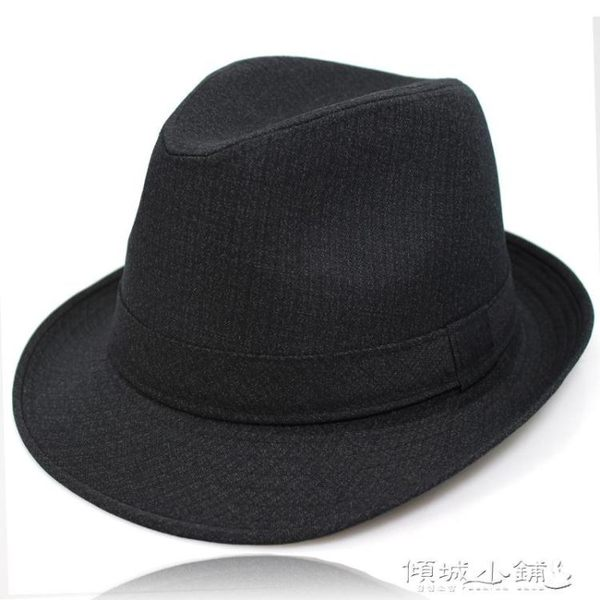 紳士帽 春秋季中老年男士禮帽西服布料卷邊爵士帽中年紳士帽短檐爺爺男帽 傾城小鋪