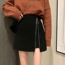 短裙 小個子黑色裙子春秋2021新款設計感小眾外穿高腰顯瘦短裙半身裙女